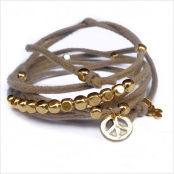 Mini charms peace sur daim noué greige perles en plaqué or - bijoux modernes - gag et lou - bijoux fantaisie