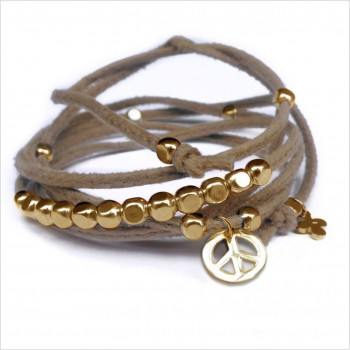 Mini peace and love charms on knotted suede link