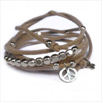 Mini charms peace sur daim noué greige perles en argent - bijoux modernes - gag et lou - bijoux fantaisie