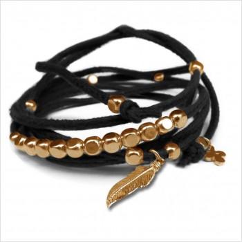 Mini charms plume sur daim noué noir perles en plaqué or - bijoux modernes - gag et lou - bijoux fantaisie