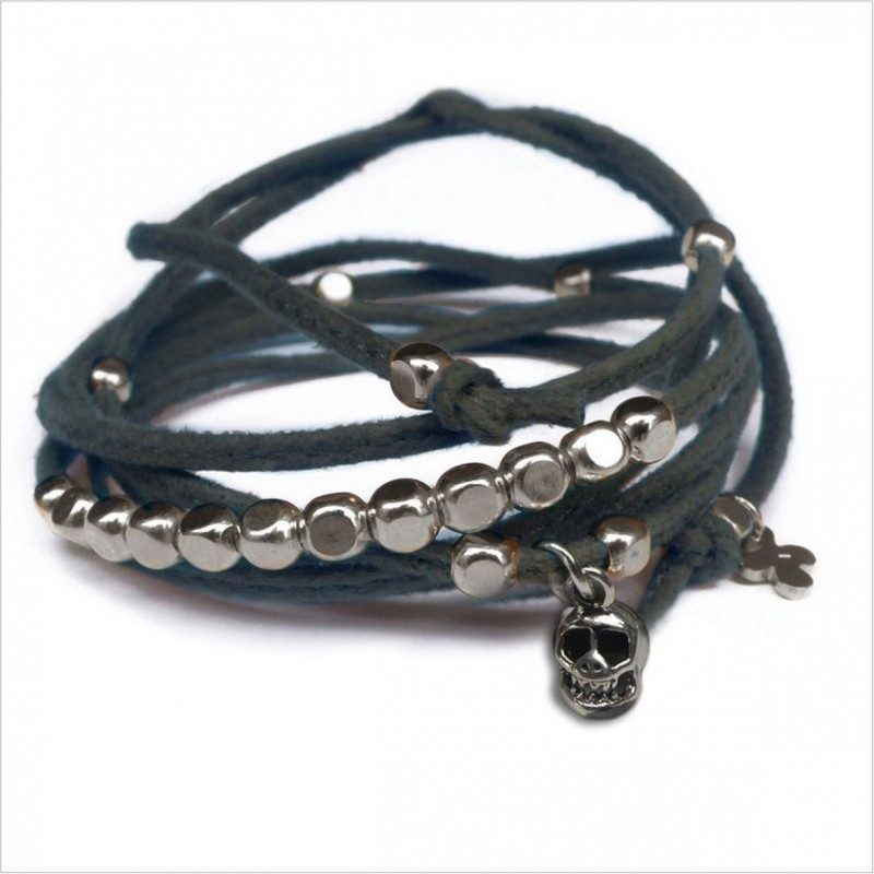 Mini skull charms on knotted suede link